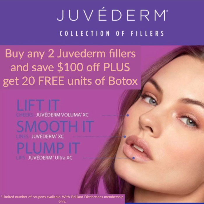 Buy 2 any juvederm fillers and save $100 off plus get 20 units of botox in Cleveland OH