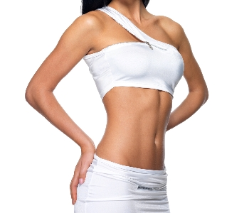 woman with toned body and flat stomach posing